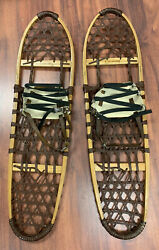 Rare Vintage LL Bean 10 x 36 Wood and Brown Leather Snowshoes Snow Shoes Hiking $170.00
