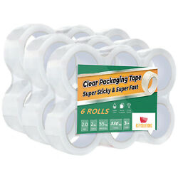 6 12 18 24 36 72 Rolls 2 Mil 2 inch x 55 Yards Clear Packing Carton Sealing Tape $11.95