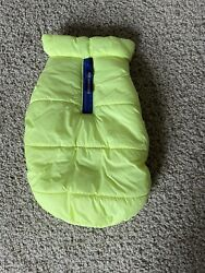 Neon Yellow Dog Small Breed Puffer Vest Fashion Jacket Blue Zip Hook And Loop $6.00