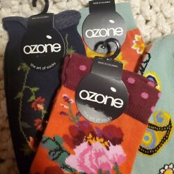 3 Pair Ozone Womens Novelty Fashion Designer Socks Flower Floral Sox Lot of 3 $26.48