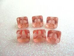Outstanding Czech Vintage Glass Buttons 6 Clear Pink $10.00