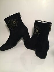 Comfortview HARLEY boots size 7W amp; 8WW Black faux suede 2quot; heel $19.95