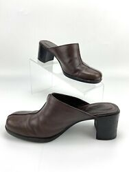 Clarks womens heel mule slip on clogs shoes brown size 5M $32.99