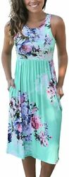 OURS Women Summer Sleeveless Floral Print Racerback Midi Sun Dresses with Pocket $42.11