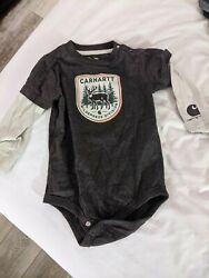 Carhartt Baby Boys 12 Month Long Sleeve Brown Wilderness One Piece $10.00