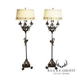 Gothic Revival Antique Pair Forged Iron Candelabra Floor Lamps with Dragons $2995.00