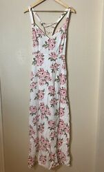 Forever 21 Floral Maxi Dress Lace Up Back Roses Medium A14 $24.00