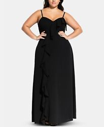City Chic Women#x27;s Trendy Plus Size Ruffled A Line Dres Black Size 18 $52.80