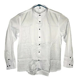 Men#x27;s Large Casual White Button Down Collared Basic Long Sleeve Shirt Size 42 $9.98