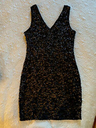Sparkly Black Sequin Dress Stretch Cocktail V neck Sleeveless Small Evening