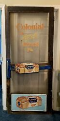 Antique Colonial Bread Country Store Door. Push Display Kick Plate Complete $2225.00