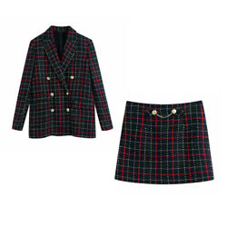 Ladies Blazer Skirt Suits Casual Plaid Tweed 2Pcs Skirt Suits Female Chic office $39.99