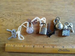 Four Small Vintage Locks And Keys $7.95