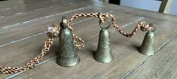 VINTAGE BELLS OF SARNIA MADE IN INDIA SET OF 3 BRASS BELLS ON VINTAGE CORD $20.00