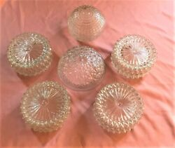 Lot of 6 Vintage Midcentury Glass Shades for Ceiling Lights Diamond Pattern $70.00