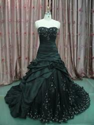Black Gothic Wedding Dress Strapless Embroidery Lace Up Back Bridal Custom Gowns