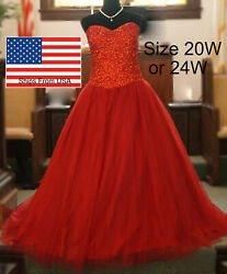 NWT Ball Gown Prom Dress Red Burgundy Plus Size 20w 24w Tulle Strapless Crystal $69.99