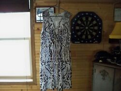 Live and Let Live Maxi Beach Dress Women Black And White Floral Sz Large $7.99