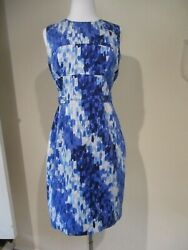 CALVIN KLEIN blue white painted pattern fitted designer dress 6