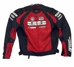 Speed and Strength Men#x27;s Padded Motorcycle Racing Jacket XL Black Red w Patches $97.99