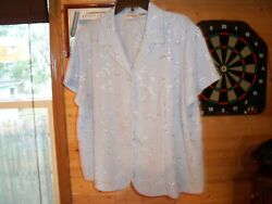 Joanna Plus Women Button UP Top Plus Size Blue Floral Short Sleeve SZ 2X $4.99