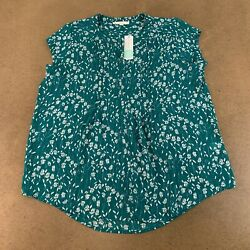 Fun2Fun Women#x27;s Size XXL Green Floral Short Sleeve Alvena Split Neck Blouse NWT $21.46