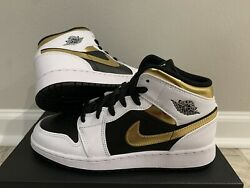 New Air Jordan 1 Mid Gold Shadow GS 6.5Y 554725 190 $129.99