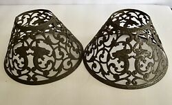 2 Antique Art Nouveau Pierced Filigree Cut Metal Candle Oil Lamp Shades Lions $38.00