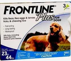 Frontline Plus for Dogs 23 44 lbs BLUE 3 MONTH 3 DOSES $26.95