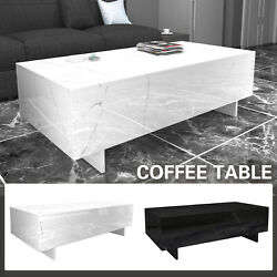 Modern White Black Coffee Table High Gloss Rectangular Living Room Furniture $118.99