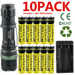 Zoomable Q5 LED Flashlight Li ion Battery Rechargeable Batteries Dual Charger $9.97