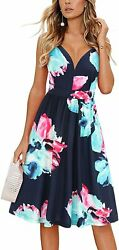 ULTRANICE Women#x27;s Summer Sexy Deep V Neck Floral Party Dresses with Pocket $36.91