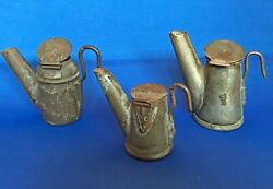 3 Miner#x27;s Tin Oil Lamps Dunlap Chirry Trethaway $200.00