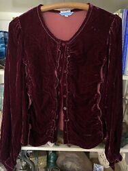 Johnny Was Womens Velvet Blouse Red Maroon Long Sleeve Button Up Blouse Top $39.00