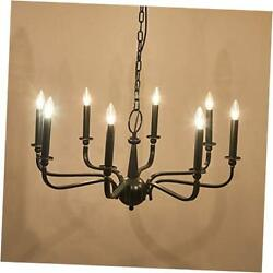 8 Light Black Chandelier , French Rustic Vintage Iron Ceiling Lights Fixture $156.24