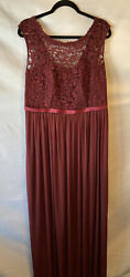 NEW David's Bridal Long Bridesmaid Dress With Lace Bodice Sz. 16 Color: Wine