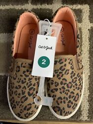 Cat And Jack Size 2 Girls Leopard Shoe $10.00