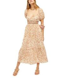 FREE PEOPLE Tan ELLIE FLORAL Print EMBROIDERED Smocked MAXI Boho DRESS XL NWT $124.99