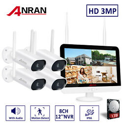 """8CH 3MP HD Security Camera System Wireless Outdoor with 12"""" Monitor WiFi NVR 1TB $279.99"""