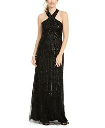 Adrianna Papell Women#x27;s Black Halter Beaded Evening Gown Size 6 $289