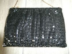 Vintage Aluminum Mesh Black Evening Purse with Chain