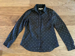 Ann Taylor Heart Print Womens Black Long Sleeve Shirt S