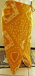 NEW Beach Cover Up Wrap Tie Skirt Yellow White Batik 46x35quot; $14.99