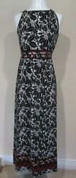 MAX STUDIO black white red band batik pattern floral dress sz S = NEW NWT $118 $49.99