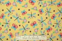 Quilting Treasures Buzz Butterfly Yellow Cotton Novelty Girls Fabric Yard $10.93