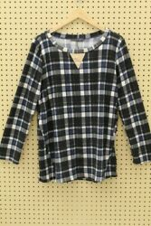 Chris amp; Carol Plus Women#x27;s Long Sleeve Patched Elbow Top Blue Plaid Size 2XL $17.50