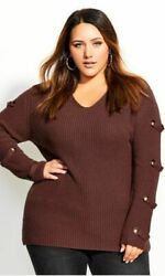 City Chic Women#x27;s Trendy Plus Size Grommet Sleeved Sweater Brown Size Small $28.80
