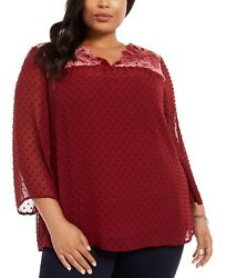Style amp; Co Plus Women#x27;s Size Swiss Dot Velvet Yoke Top Red Size 2 Extra Large $19.50