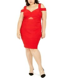 Emerald Sundae Women#x27;s Trendy Plus Size Cold Shoulder Bandage Dress Red Size 3 $19.50