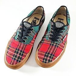 Vans Womens Shoes Sz 9M Red Black Green Tartan Plaid Lace Up Casual Sneakers $27.95